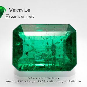 esmeralda colombiana rectangular de 5.07 kilates colombian emerald