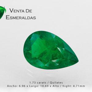 esmeralda talla lagrima certificada de 1.73 quilates