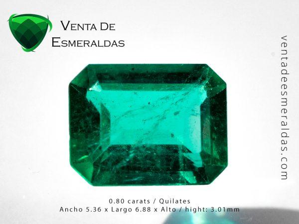 colombia emeral cut square 0.80 carats esmeralda colombiana de 0.80 quilates talla cuadrada