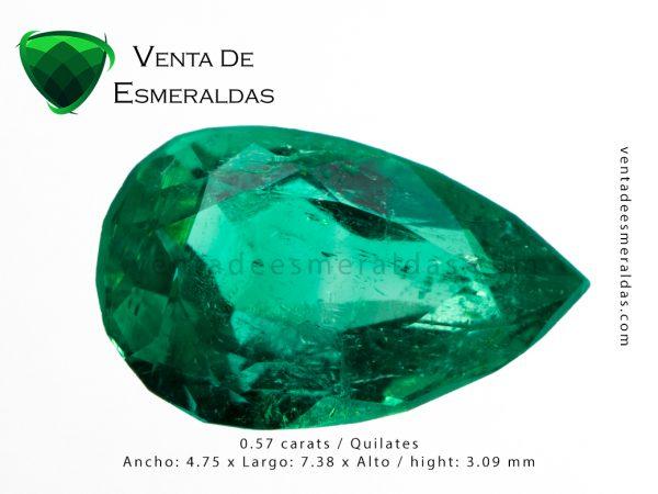 esmeralda colombiana de 0.57 quilates colombian emerald cut tear o pear 121