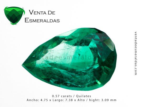 esmeralda colombiana de 0.57 quilates colombian emerald cut tear o pear