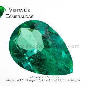 esmeralda de 1.49 quilates y medio colombian emerald talla lagrima