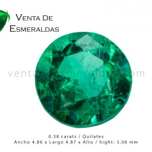 esmeralda talla redonda de 0.38 quilates round colombian emerald