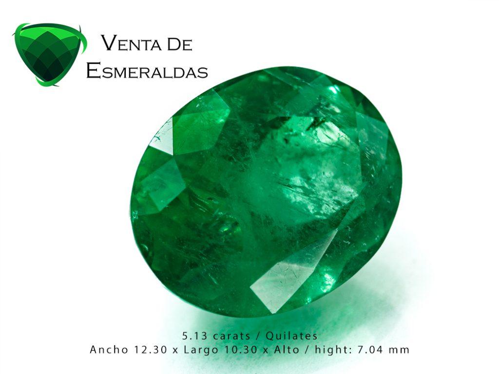 esmeralda colombiana de 5.41 quilates talla ovalada
