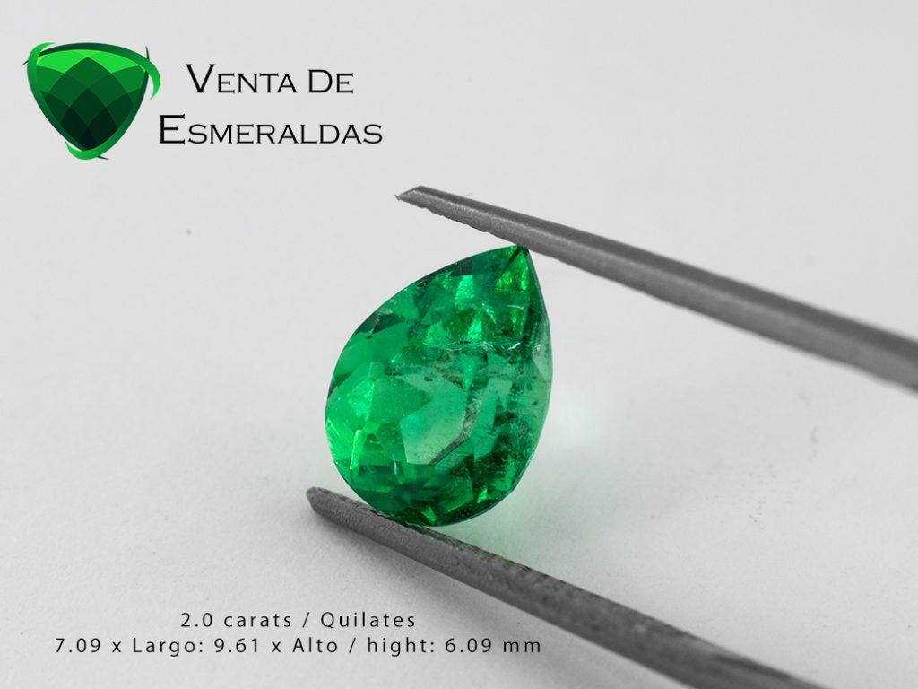 Esmeralda talla lágrima o pera de 2 quilates kilates emerald shape pear or tear 2 cts
