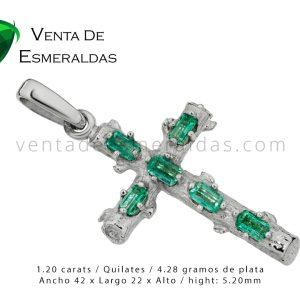 Cruz en plata 925 con esmeraldas Colombianas certificadas