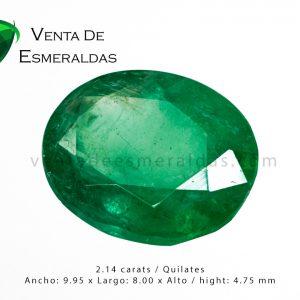 esmeralda colombiana de 2.14 quilates talla ovalada colombian emerald