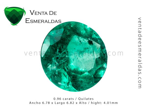 esmeralda colombiana talla redonda de 0.96 quilates colombian emerald