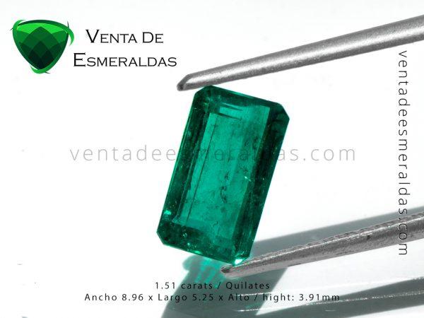 esmeralda gota de aceite de 1.51 quilates talla rectangular colombian emerald
